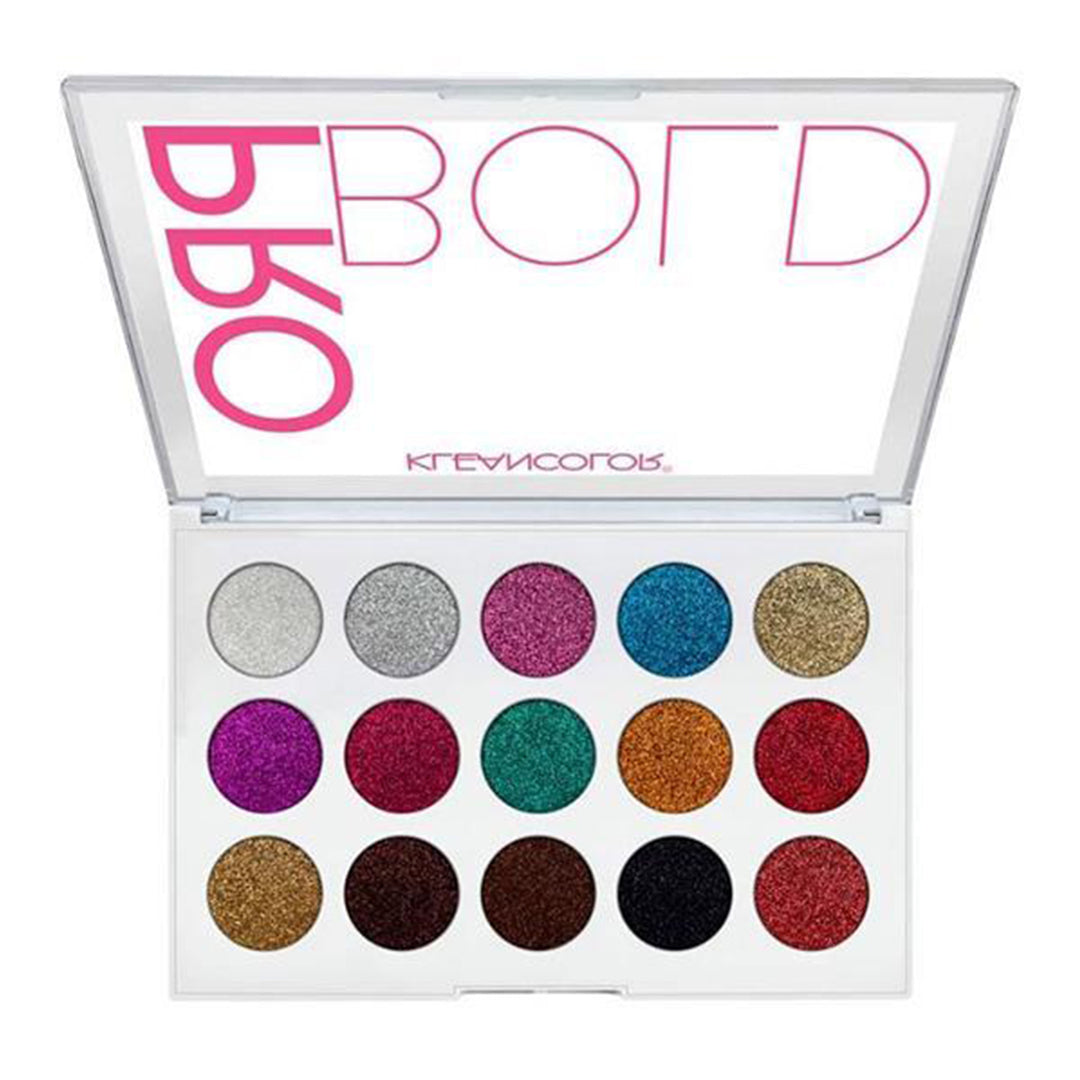 Paleta Pro Bold Pressed Glitter Kleancolor - Venta al por Mayor Display 6PZS (ES1522)