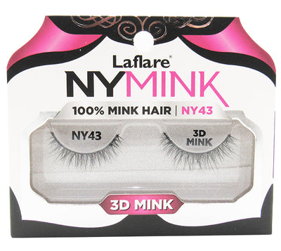 Pestañas Falsas 3D 100% Mink Hair Laflare - Venta al por mayor Pack 10PZS (NY43)