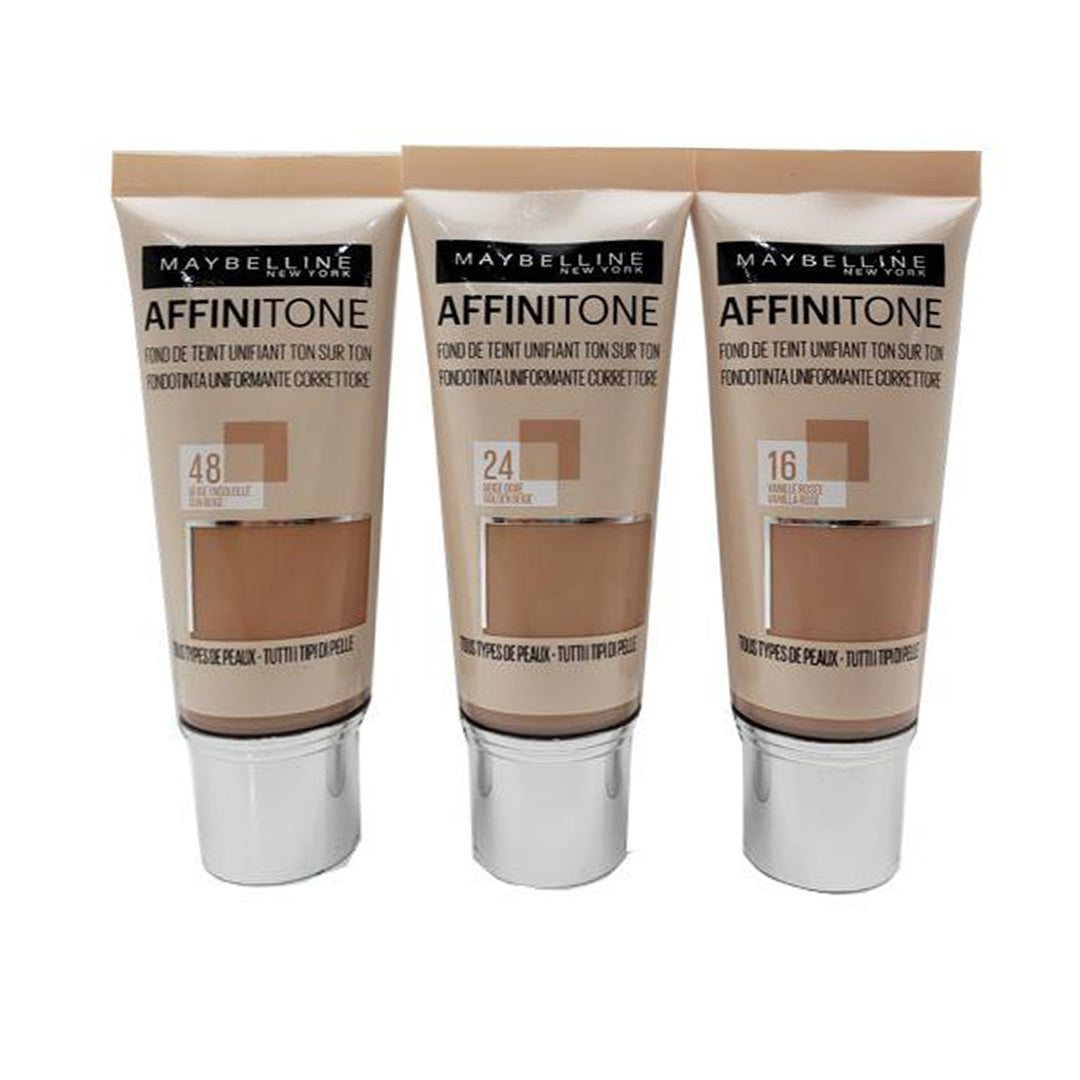 Base Uniforme Correctiva Affinitone Surtida Maybelline - Venta al Por Mayor Pack 18PZS (MAY236)