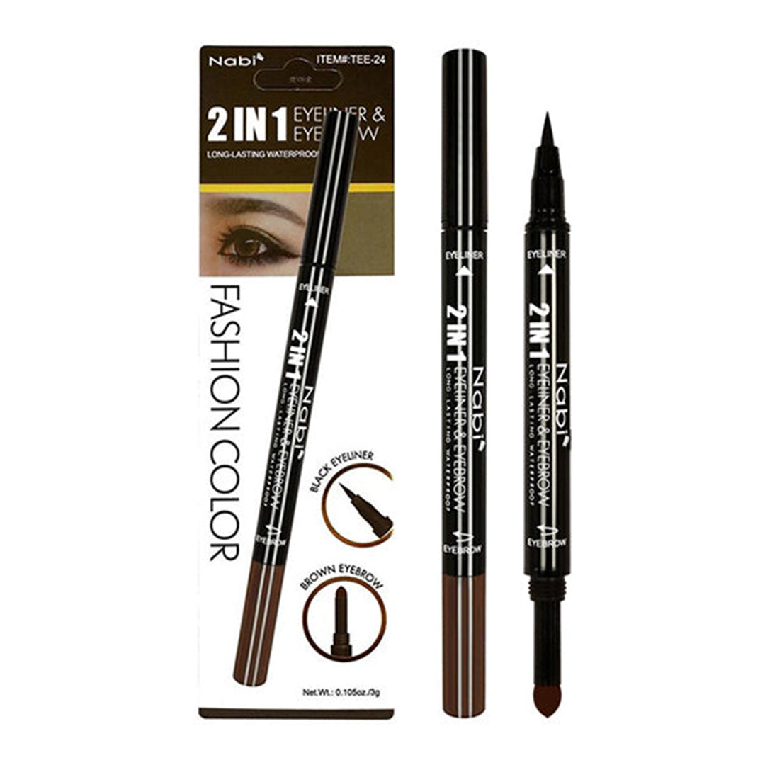 Delineador Negro 2 IN 1 & Polvo de Cejas Marrón Nabi - Venta al por mayor Display 24PZS (TEE-24)