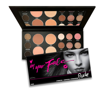 Wholesale Rude Cosmetics In Your Face 3-IN-1 Palette Display 12PCS (RC-75028)