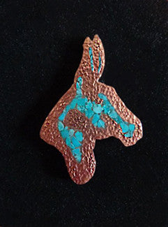 Copper and Turquoise Donkey Pin