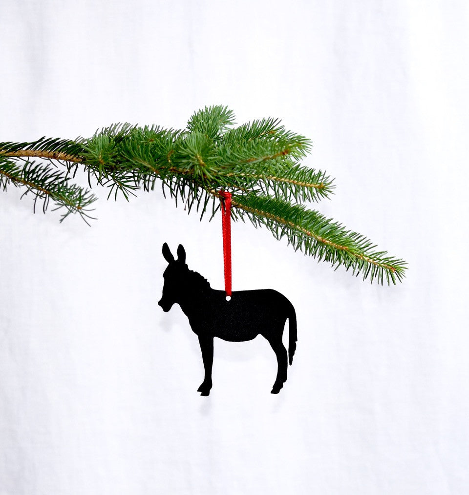 Metal Donkey Christmas Tree Ornament
