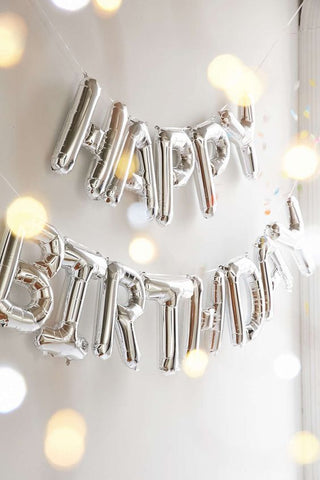 "Happy Birthday Silver 16"" Air-Filled Balloon Kit"