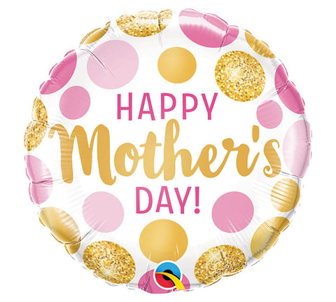Happy Mother's Day Mother's Day Pink Gold Dots Foil Balloon