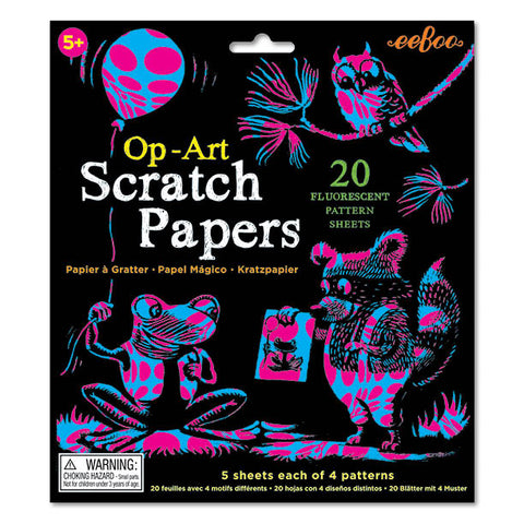 Op-Art Scratch Papers 20 Flurescent Pattern Sheets