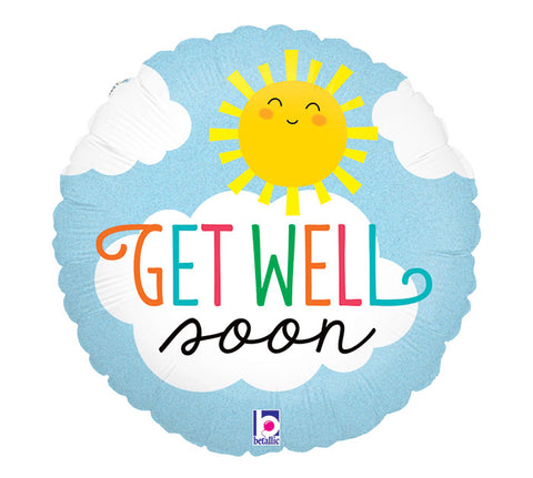 Get Well Soon Sun Foil Balloon
