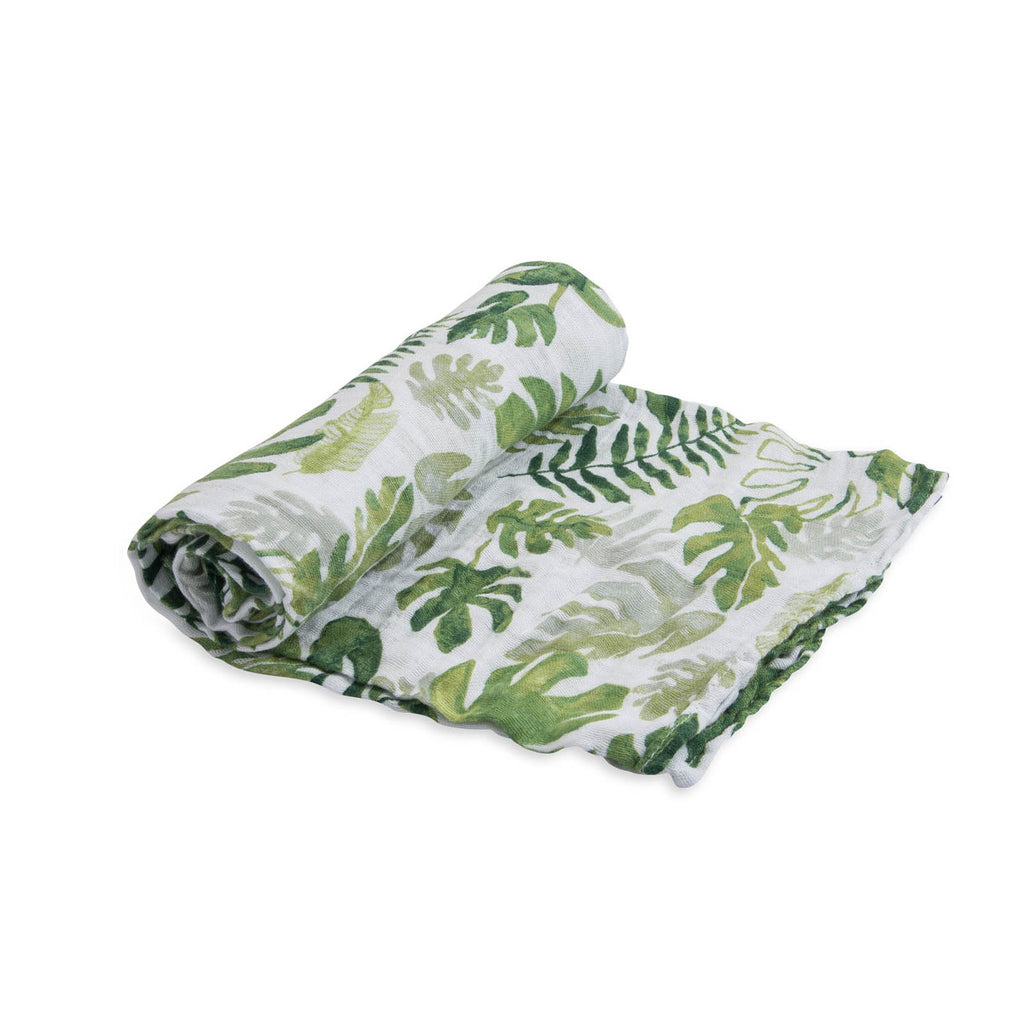 Cotton Muslin Swaddle Single - Tropical Leaf
