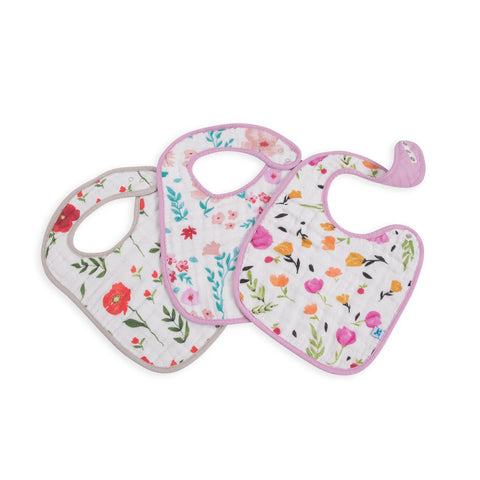 Cotton Muslin Classic Bib 3 Pack - Floral Medley Set