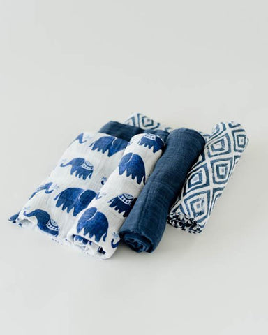 Cotton Muslin Swaddle 3 Pack - Indie Elephant Set