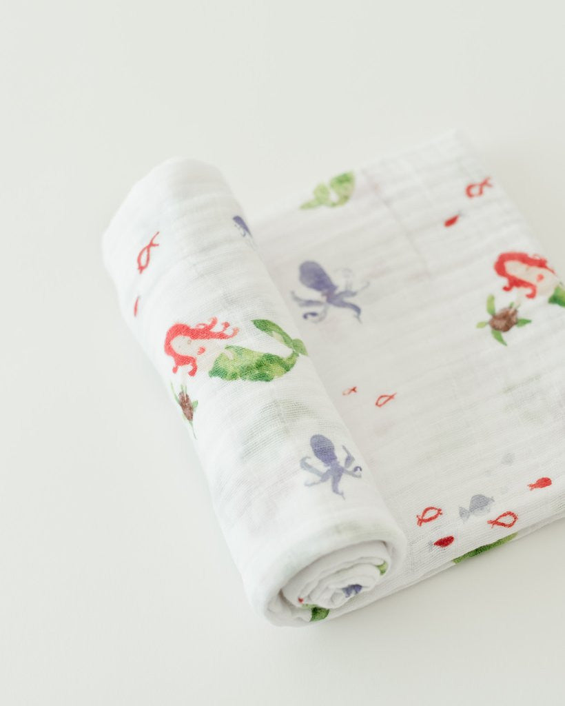 Cotton Muslin Swaddle Single - Mermaid