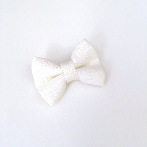 Irish Linen Mini Bow, Snap Clip - Oyster