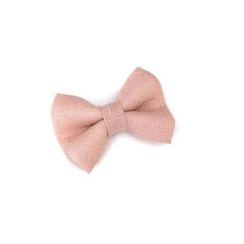 Irish Linen Mini Bow, Snap Clip - Blush