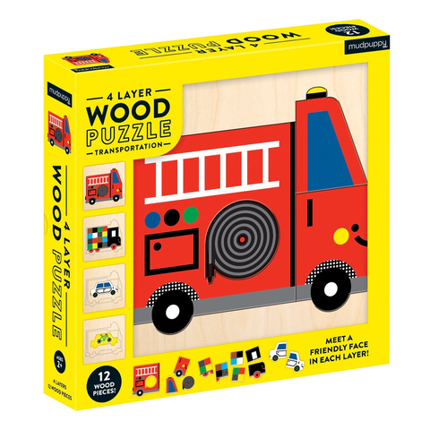 4 Layer Wood Puzzle - Transportation