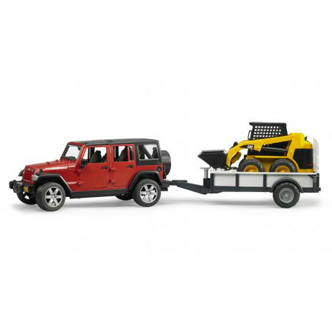 Jeep Wrangler Unlimited Rubicon With Trailer And Cat Skid Steer