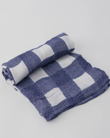 Deluxe Muslin Swaddle Single - Blue Plaid