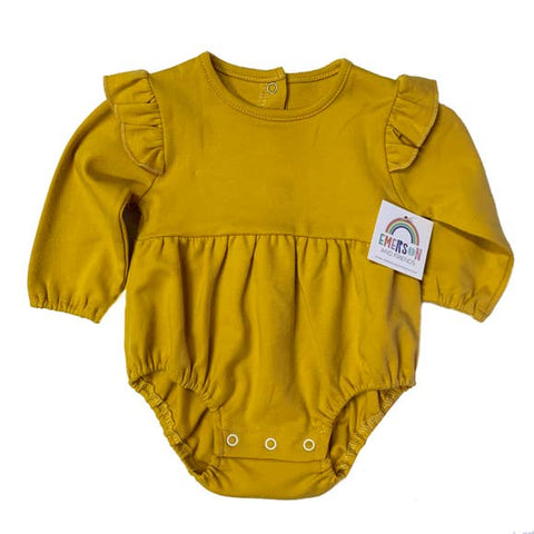 Mustard Yellow Long Sleeve Flutter Onesie