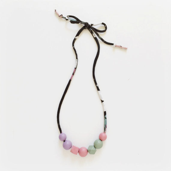Hand Painted Wooden Bead Necklace, Chloe