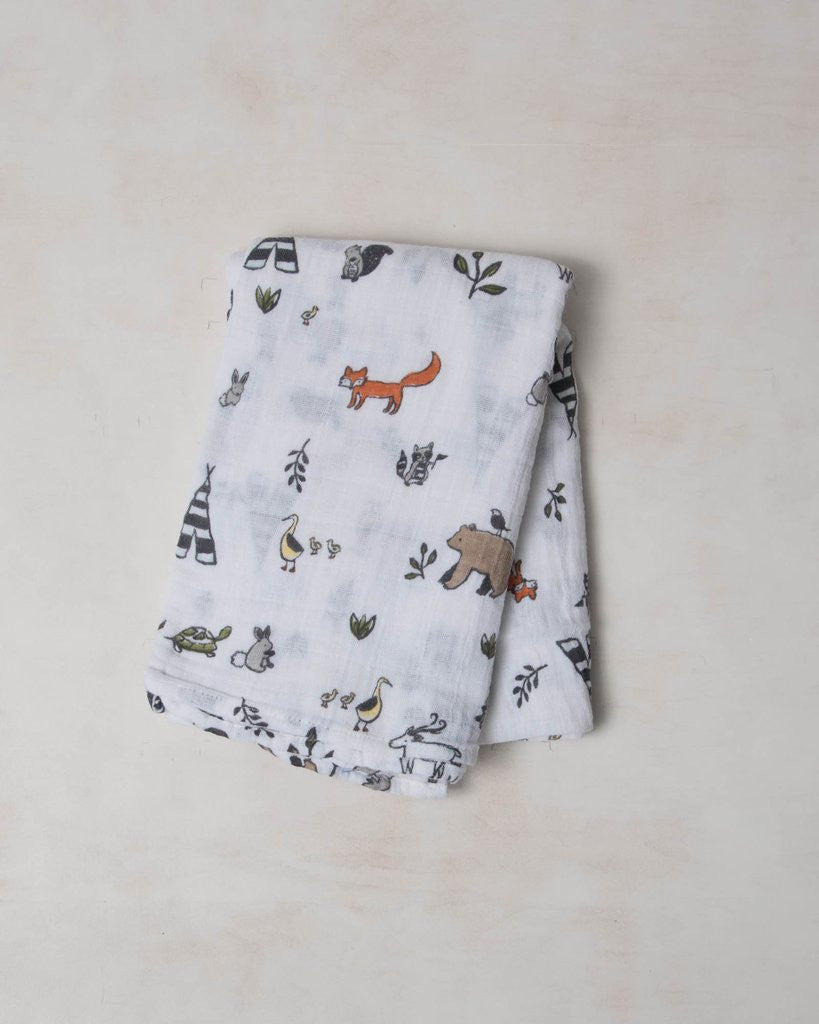 Cotton Muslin Swaddle Single - Forest Friends