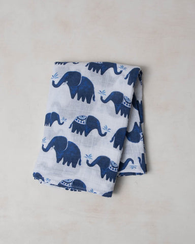 Cotton Muslin Swaddle Single - Indie Elephant
