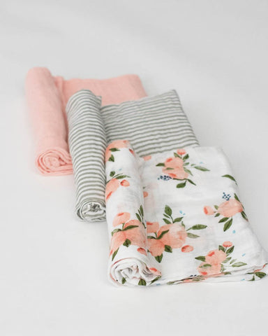 Cotton Muslin Swaddle 3 Pack - Watercolor Roses Set
