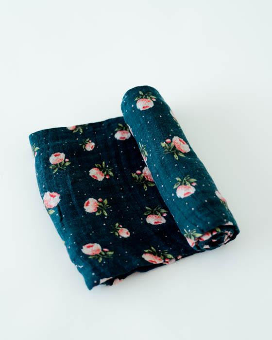Cotton Muslin Swaddle Single - Midnight Rose