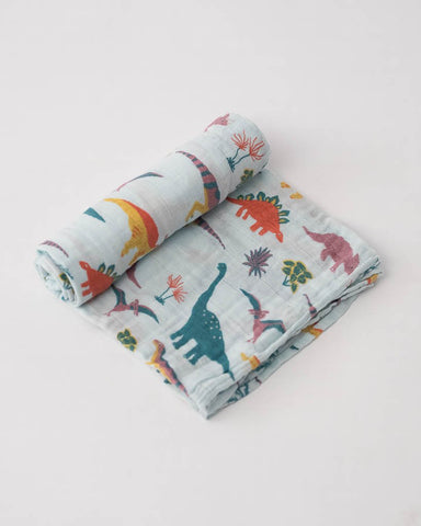 Cotton Muslin Swaddle Single - Embroidosaurus