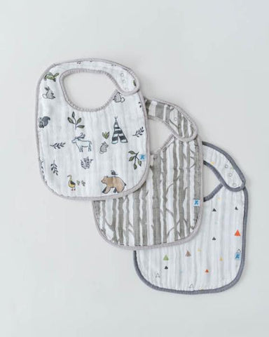 Cotton Muslin Classic Bib 3 Pack - Forest Friends Set