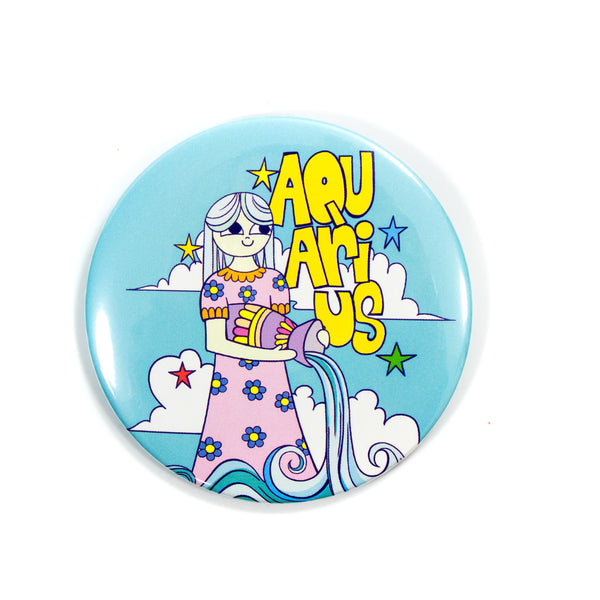 "3"" Zodiac Button / Travel Mirror: Aquarius"