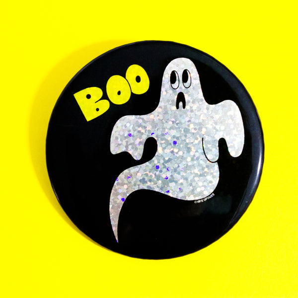 "BOO! Ghostly 3"" Pin-Back Button"