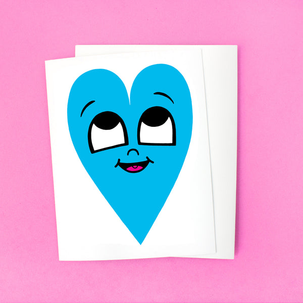 Happy Heart Card - Blue Heart