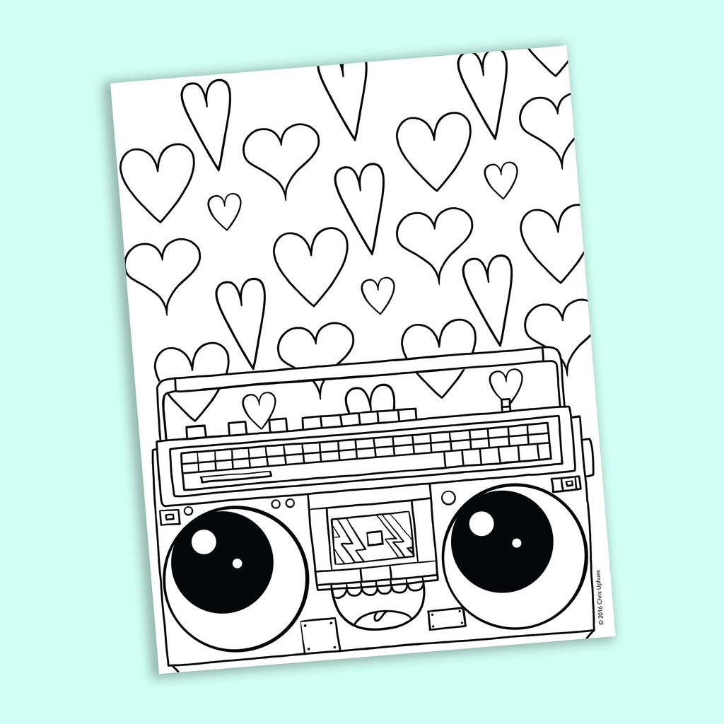 Boombox Coloring Page - Free Downloadable PDF