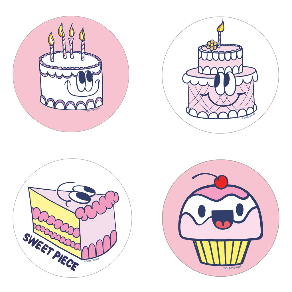 Scratch and Sniff Sticker Set of 16 - Birthday Cake