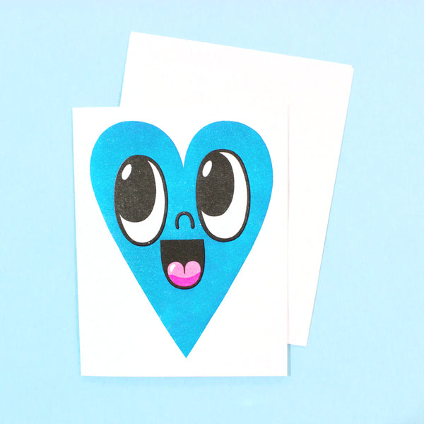 Happy Heart Card - Blue
