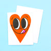 Happy Heart Card - Neon Tangerine