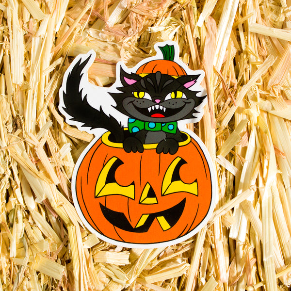 Cat-O-Lantern Vinyl Sticker