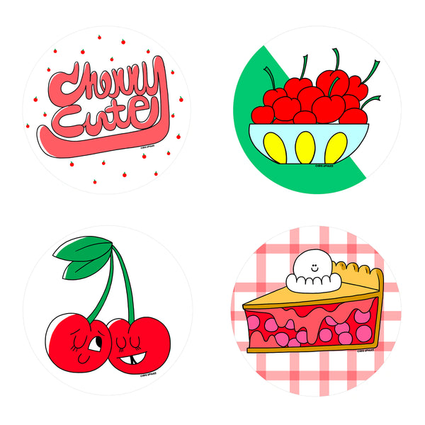 Scratch and Sniff Sticker Set of 16 - Cherry
