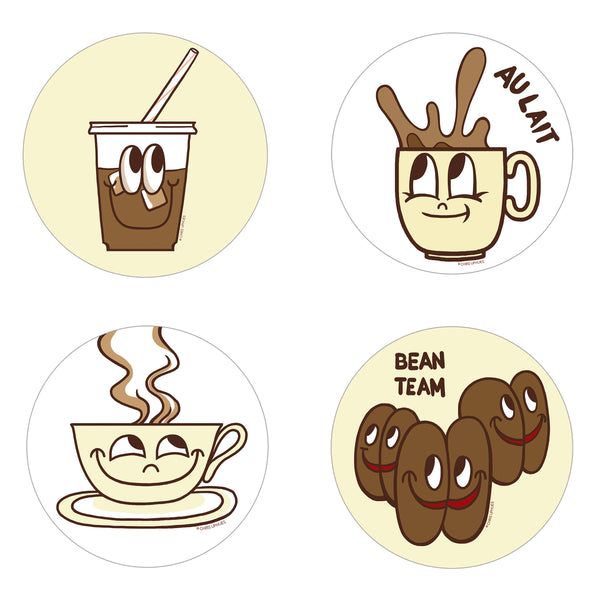 Scratch and Sniff Sticker Set of 16 - Coffee