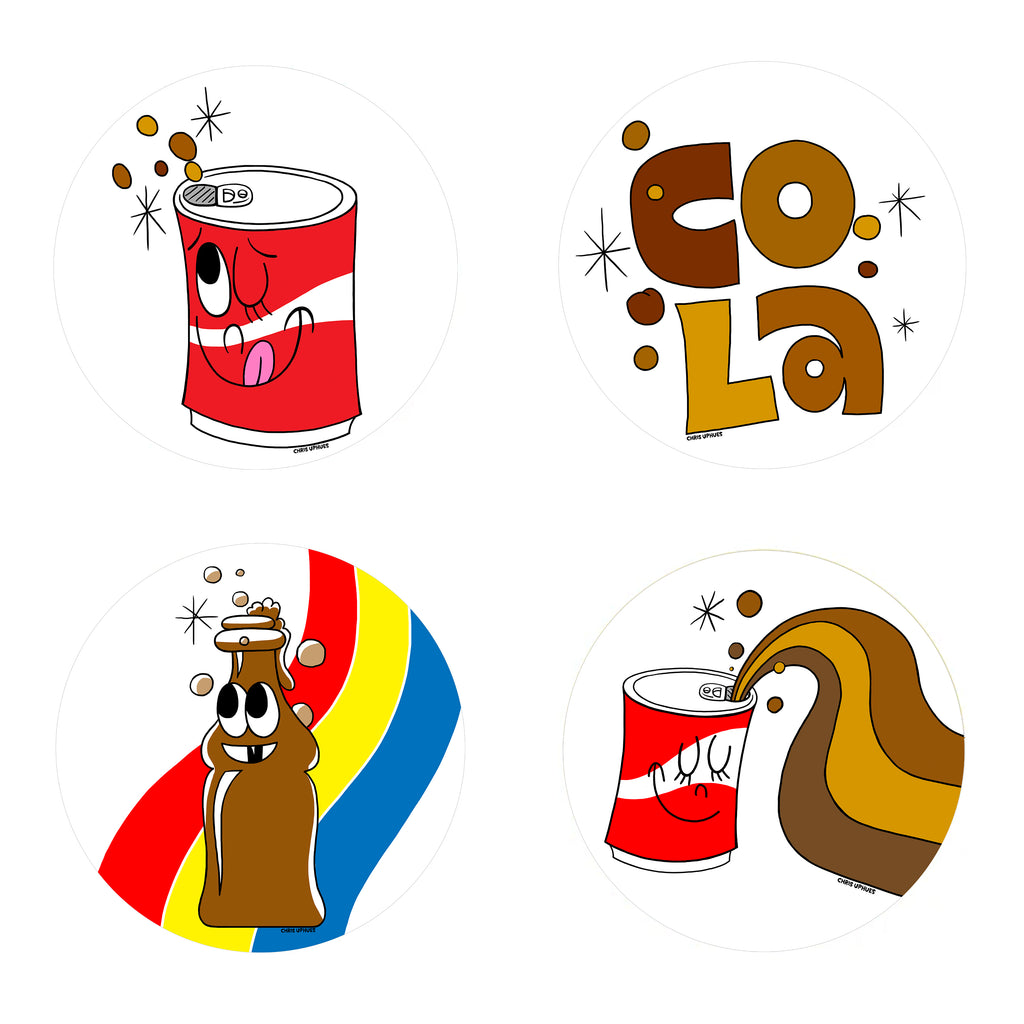 Scratch and Sniff Sticker Set of 16 - Cola