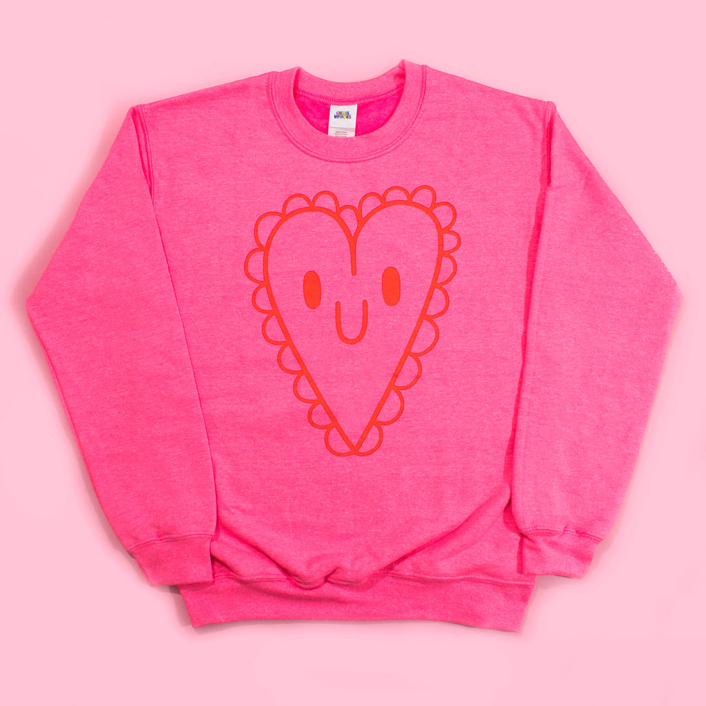 Electric Pink Doily Heart Sweatshirt