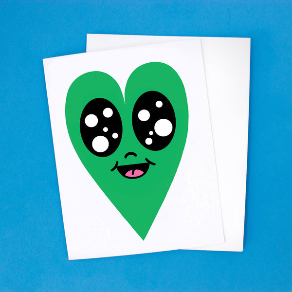 Happy Heart Card - Green Heart