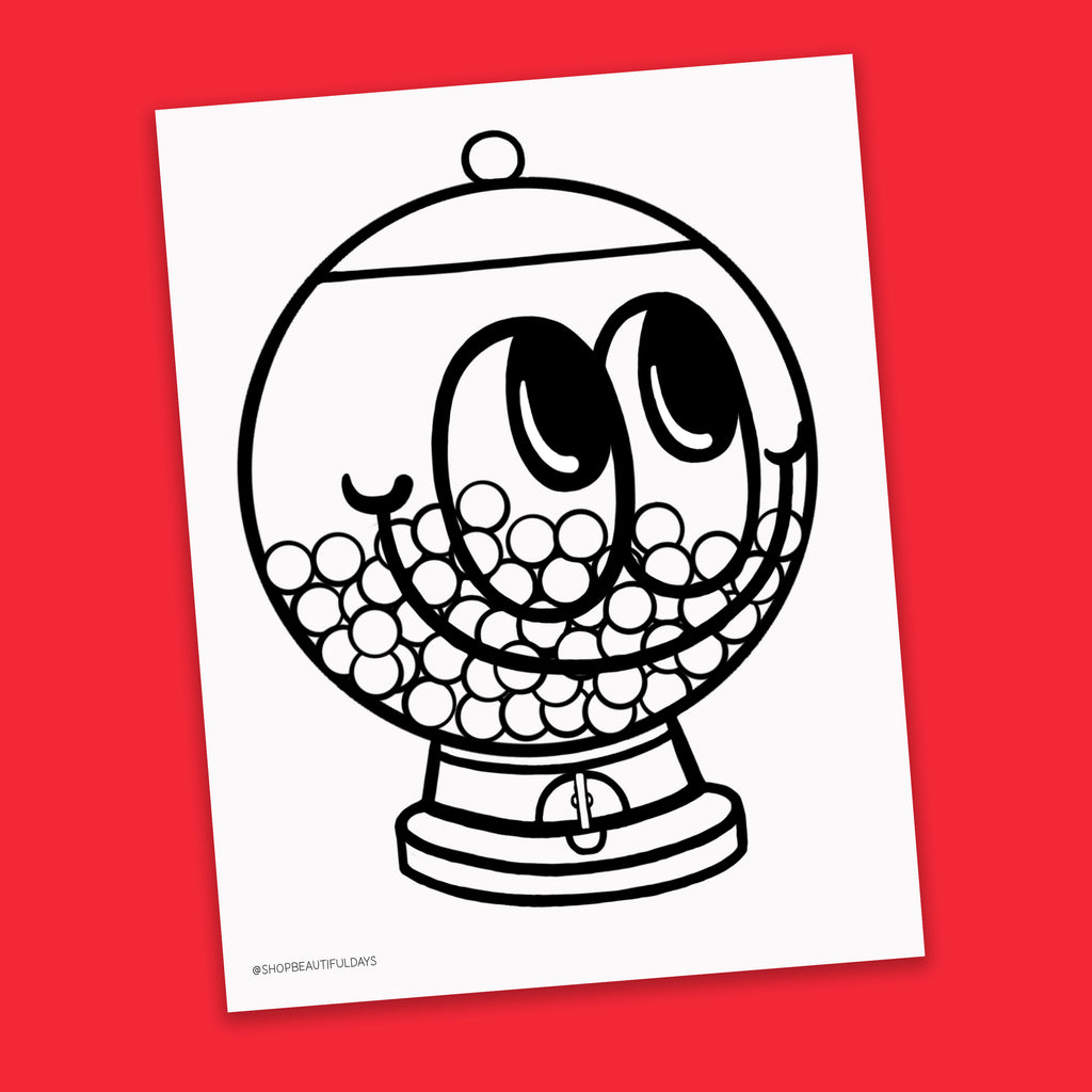 Gum Ball Machine Coloring Page - Free Downloadable PDF
