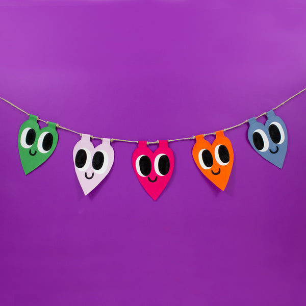 Hand Painted Heart Garland