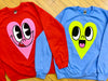 Bright Pink and Red Heart Sweatshirt