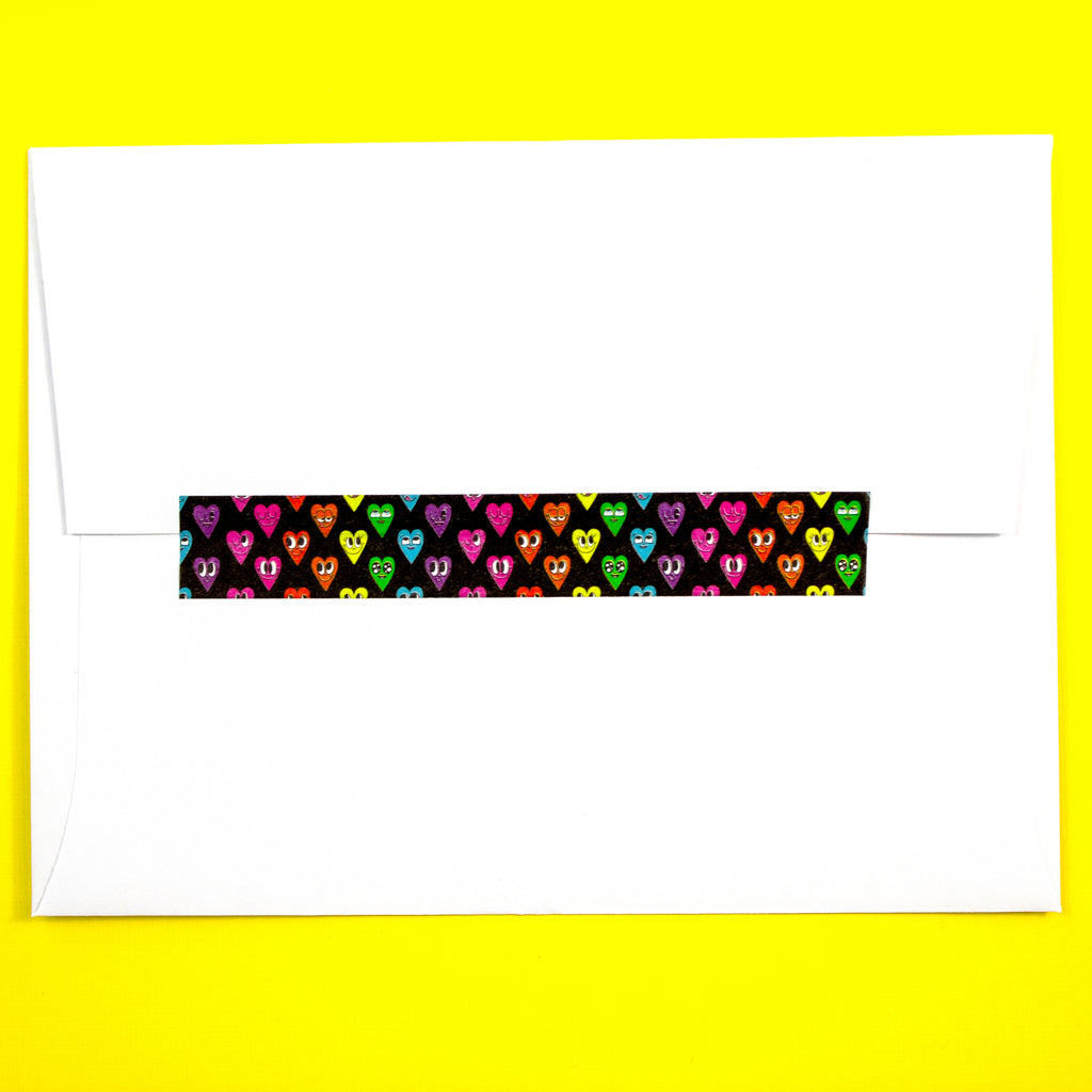Black Rainbow Heart Washi Tape