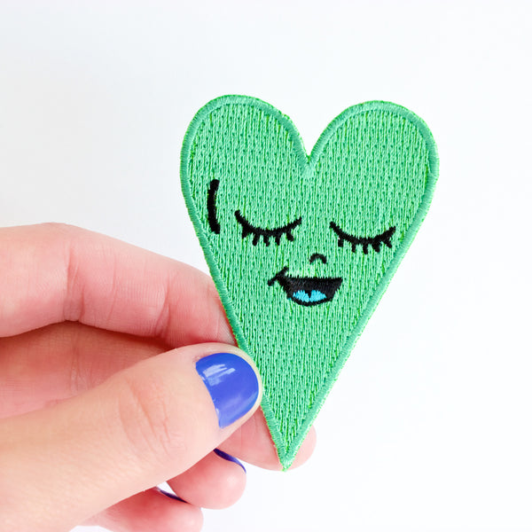 Seafoam Green Heart Patch