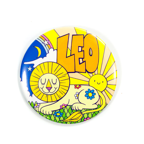 "3"" Zodiac Button / Travel Mirror: Leo"