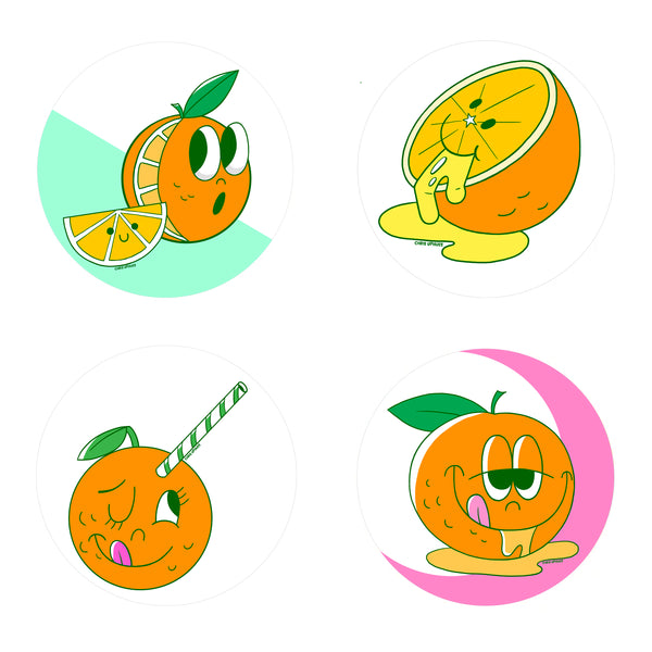 Scratch and Sniff Sticker Set of 16 - Orange