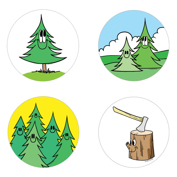 Scratch and Sniff Sticker Set of 16 - Pine