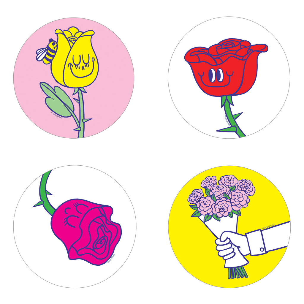 Scratch and Sniff Sticker Set of 16 - Rose